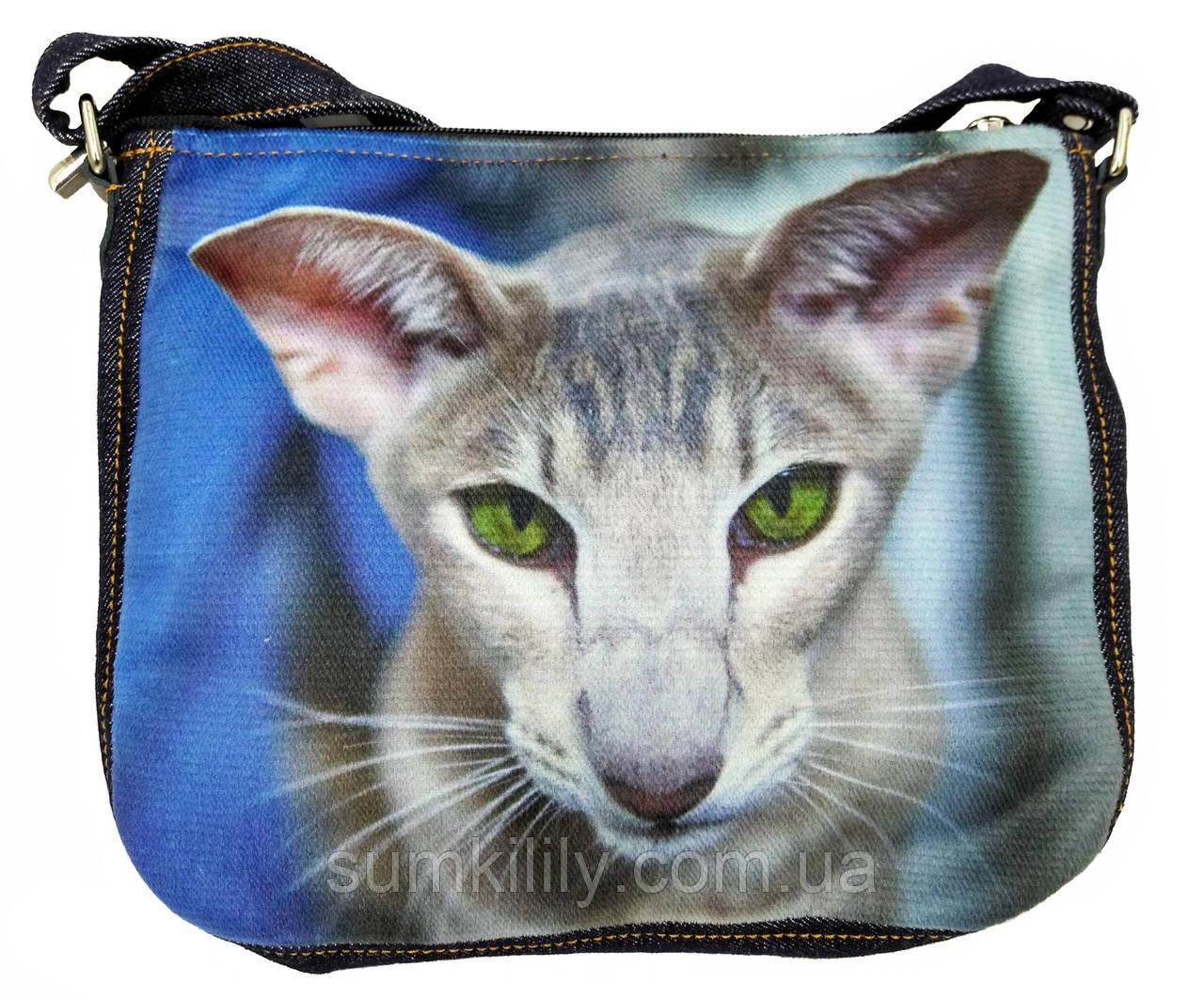 Джинсовая сумка с котом Ориентал