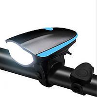 Фонарь велосипедный, аккумуляторный Speaker bicycle light BL-7588 со звуковым сигналом (черный)