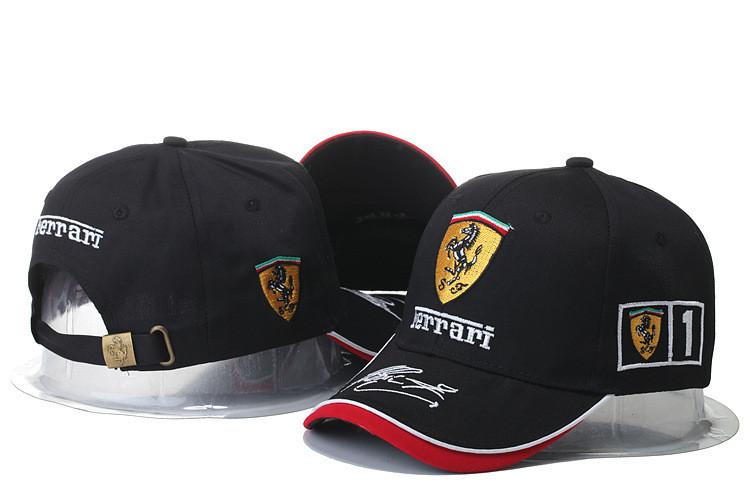Кепка Бейсболка Мужская Женская City-A с логотипом Авто Ferrari Феррари Черная