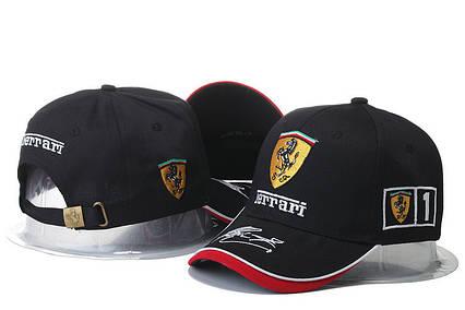Кепка Бейсболка Чоловіча Жіноча City-A з логотипом Авто Ferrari Феррарі Чорна, фото 2