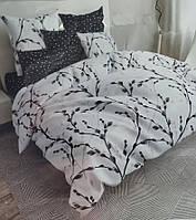 Постельное белье бязь голд люкс 220x180 двуспальный комплект черно-белый с растительным принтом.
