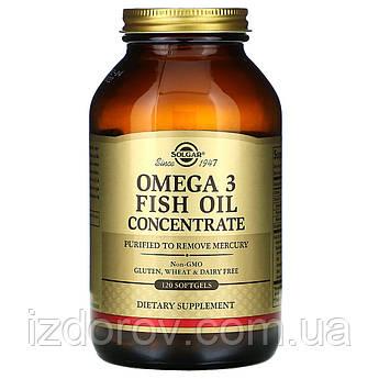 Solgar, Омега-3, Omega-3, рыбий жир, концентрат, 120 мягких таблеток. США