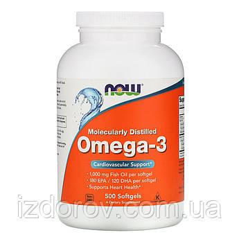 Now Foods, Омега-3, 180 EPA/120 DHA, Omega 3, 500 капсул