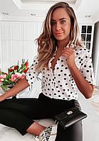 Жіноча стильна блузка на гудзиках в горох, фото 1
