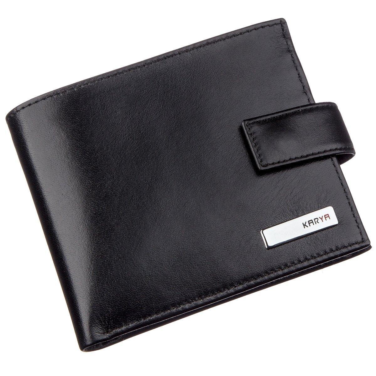 Мужское портмоне в гладкой коже с хлястиком KARYA 17375 Черное