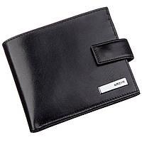 Мужское портмоне в гладкой коже с хлястиком KARYA 17375 Черное, фото 1