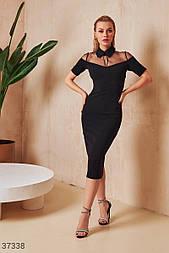 Облегающее платье миди с полупрозрачной кокеткой черное