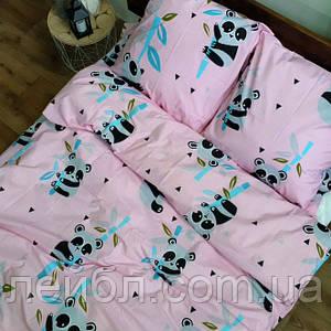 Распродажа полуторное постельное белье Бязь Gold –  Панды на розовом фоне