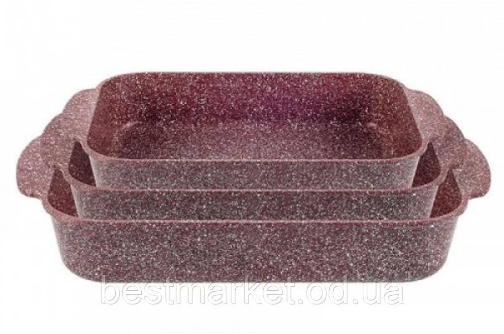 Набір Прямокутних Форм для Випічки з Гранітним Покриттям Lexical LG-740301-4 Red 3 Предмета