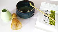 Чай Матча + венчик, чаша и мерная ложка. Премиум комплект для приготовления японского чая Маття