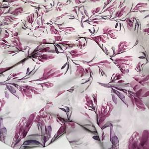 Ткань супер софт принт лиловые листья