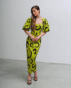 Платье женское летнее миди с принтом AniTi 630, лайм с черным