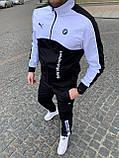 Чоловічий спортивний костюм Puma BMW бавовна, білий, чорний, S, фото 2