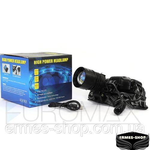 Ліхтар налобний Bailong 2x18650 micro USB BL-8053-P50