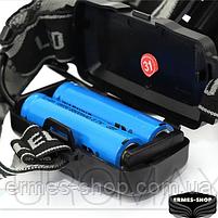 Ліхтар налобний Bailong 2x18650 micro USB BL-8053-P50, фото 5