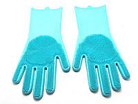 Силиконовые перчатки для мытья и чистки Magic Silicone Gloves с ворсом Светло-голубые