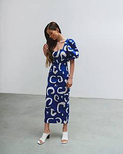 Платье женское летнее миди с принтом AniTi 630, синий с белым