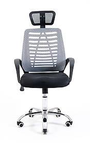 Комп'ютерне крісло Richman Бласт сітчасте сіре з підголовником