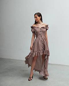 Платье женское летнее AniTi 626, мокко в черный горох