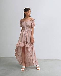 Платье женское летнее  AniTi 626, пудра в белый горох
