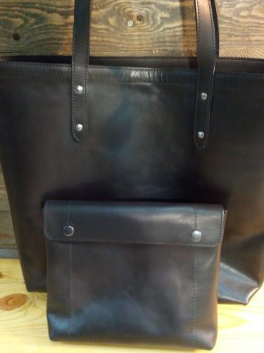 Кожаная сумка - шоппер . Размер 35*35 см.