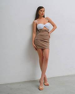 Платье женское летнее мини (двойное) AniTi 801, бело-кофейное