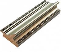 Багет дерев'яний срібний в рисочку