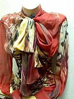 Блуза шелковая женская Balizza цветная с бантом