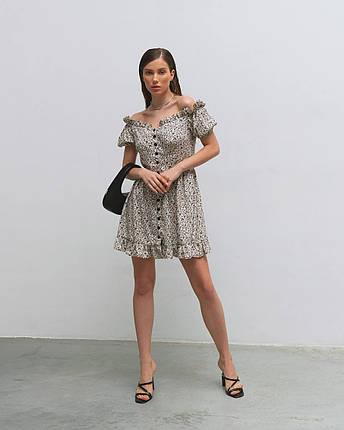 Платье женское летнее мини AniTi 623, молочное в цветочек, фото 2