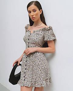 Платье женское летнее мини AniTi 623, молочное в цветочек