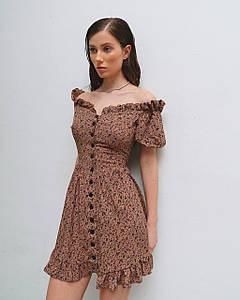 Платье женское летнее мини AniTi 623, мокко в цветочек