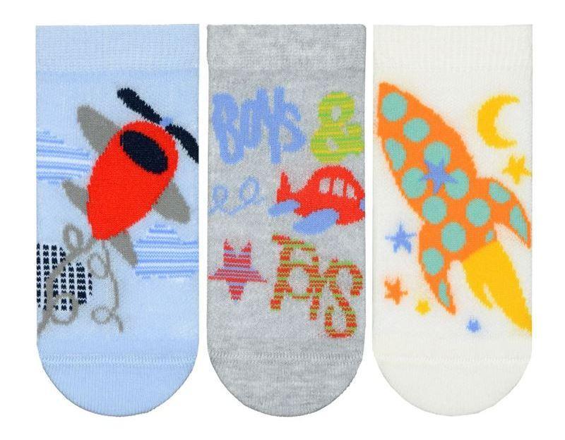 Набір 3 шт. Шкарпетки для немовлят укорочені Bross з малюнком