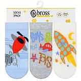 Набір 3 шт. Шкарпетки для немовлят укорочені Bross з малюнком, фото 4