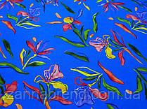"""Летняя ткань лён синего цвета """"Радужные ирисы"""""""