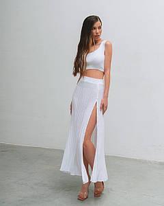 Костюм женский летний (топ и юбка) вязаный AniTi 604, белый