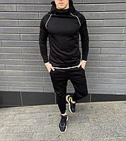 Легкий спортивный черный мужской костюм с капюшоном весна-осень (однотонный чёрный) ASOS DivingSport дайвинг