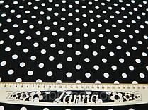 Летняя ткань лён черного цвета принт (1 см) белый горох
