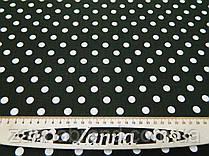 Летняя ткань лён цвет темный хаки принт (1 см) белый горох