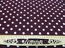 Летняя ткань лён цвет баклажановый принт (1 см) белый горох