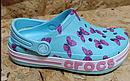 Аквашузы Crocs Bayaband clog для девочки с бабочками  кроксы  Крокс  размер  С9 15.5-16 см, фото 7
