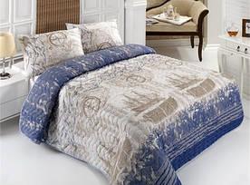 Покрывало стеганное с наволочкой Eponj Home - Pusula голубое 160*220 полуторное