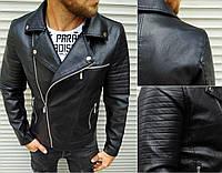 Черная кожаная куртка мужская косуха из кожзама (чёрная экокожа) Кожаные мужские куртки весна-осень на молнии