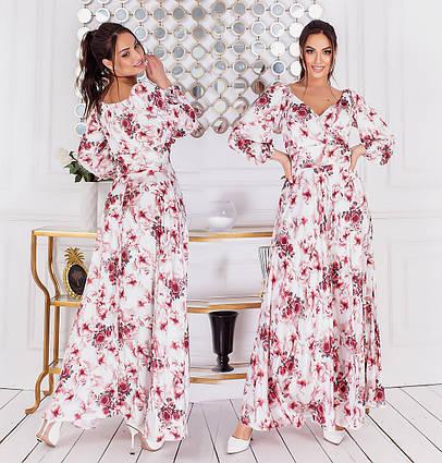 """Женское нарядное платье в больших размерах 1015 """"Шёлк Цветы Макси"""" в расцветках"""
