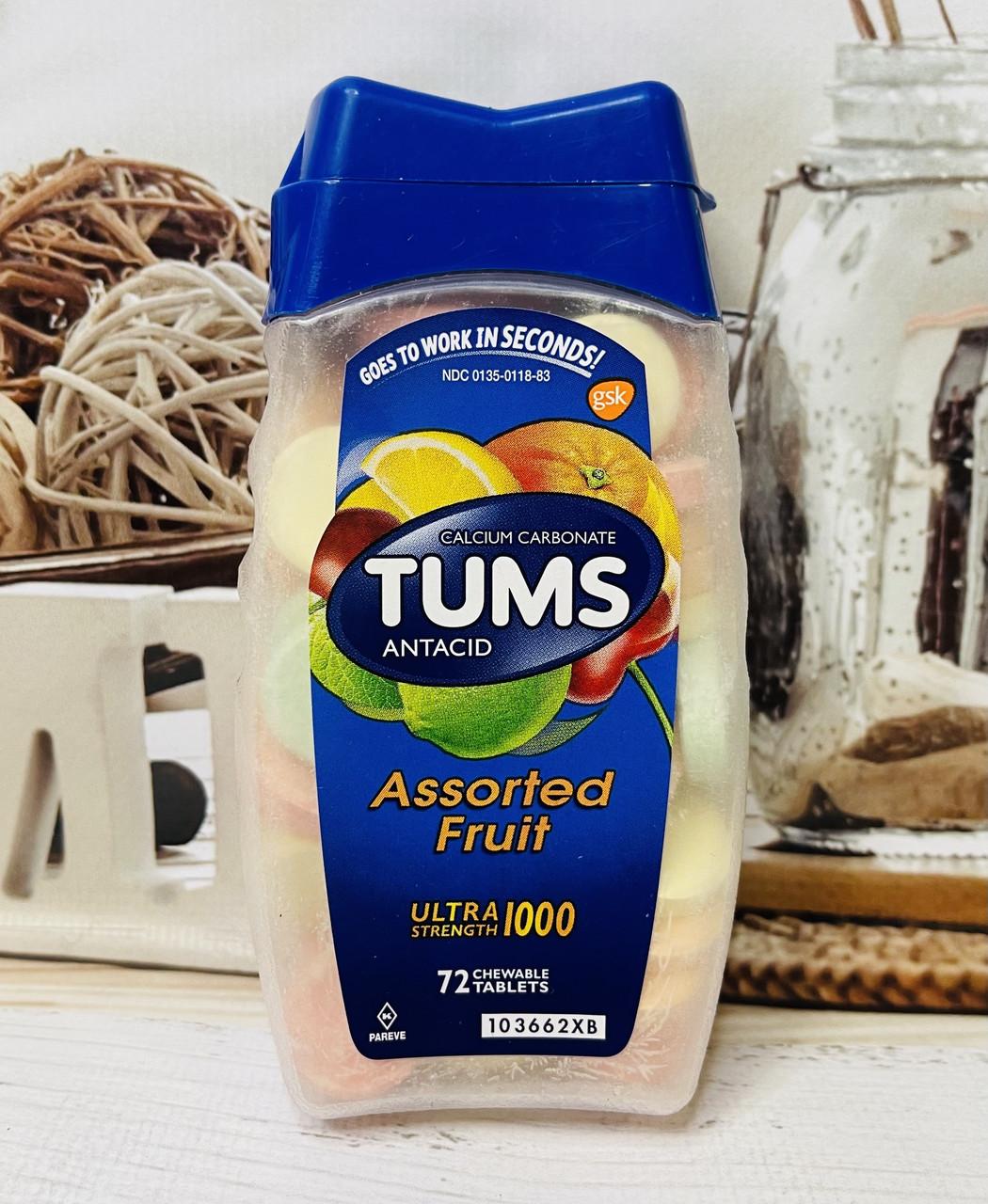 Цукерки від печії та болю в шлунку TUMS Фруктове асорті, 72шт