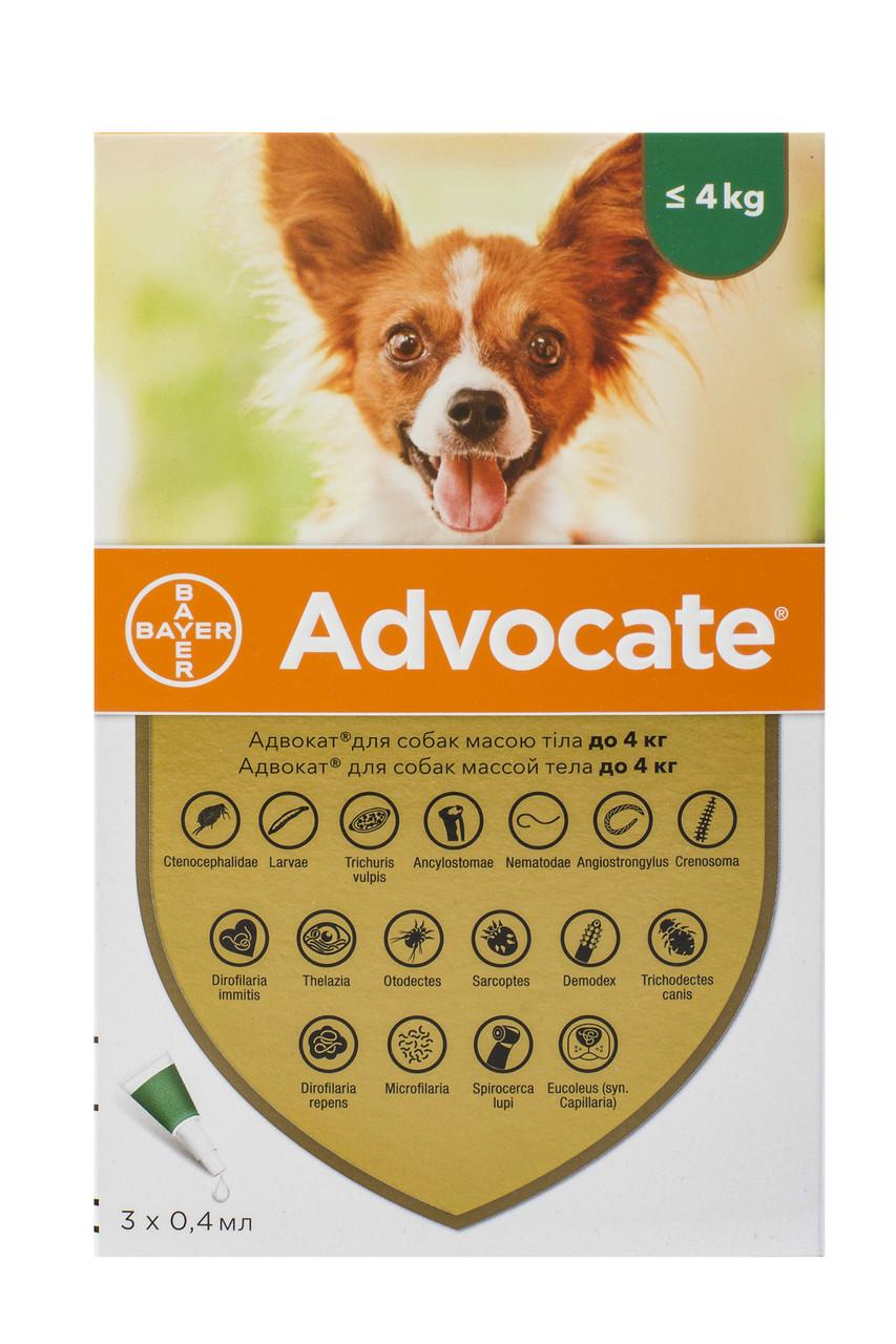 Краплі для собак до 4 кг від бліх, глистів та кліщів Адвокат Advocate Bayer 3 піпетки