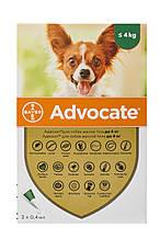 Капли для собак до 4 кг от блох, глистов и клещей Адвокат Advocate Bayer 3 пипетки