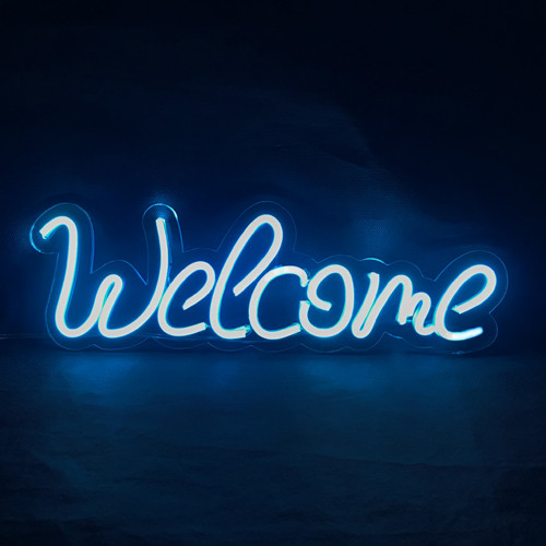 Неоновая надпись «Welcome»