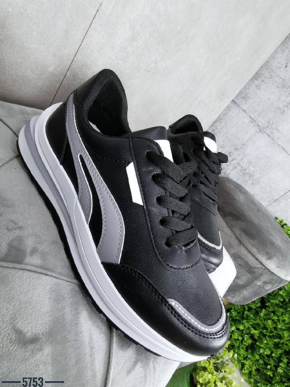 Женские кроссовки из эко кожи 36,37,38,39 р чёрный