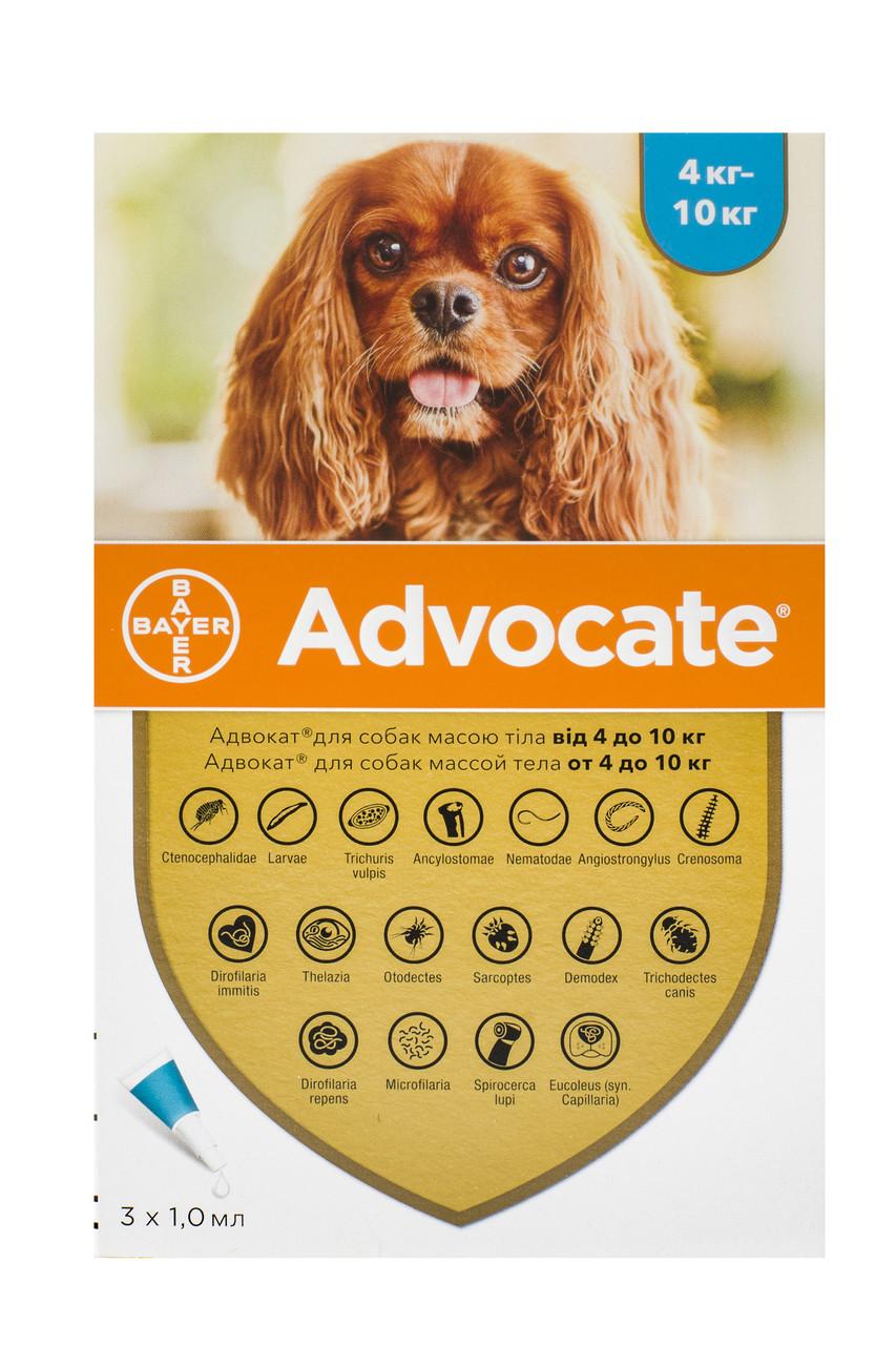 Краплі для собак 4-10 кг від бліх, глистів та кліщів Адвокат Advocate Bayer 3 піпетки