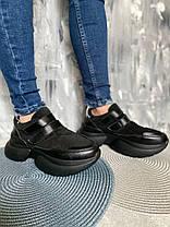 Кросівки жіночі з натуральної замші на липучці чорні, фото 3